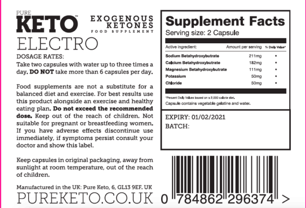 Pure Keto electro Ingredients label