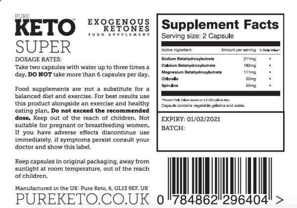 Pure Keto Super Ingredients label