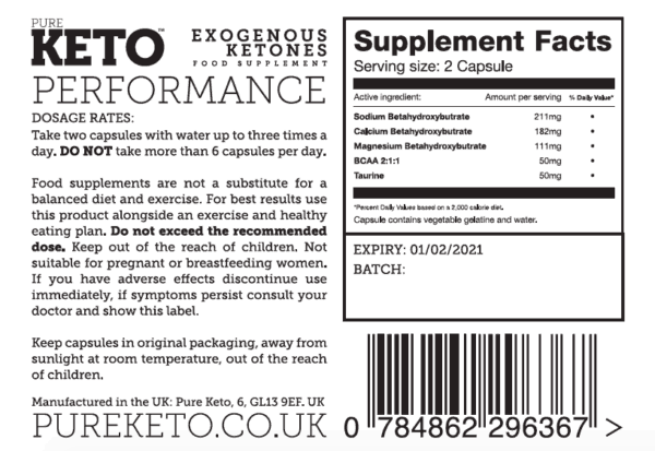 Pure Keto performance ingredients label
